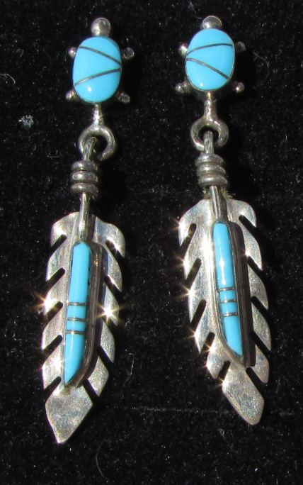 ZUNI TURQUOISE STERLING SILVER EARRINGS SIGNED