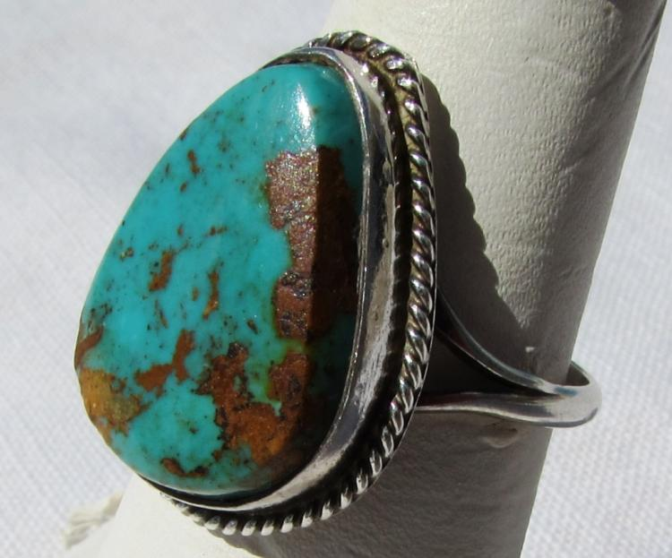 ROYSTON TURQUOISE STERLING SILVER RING NATIVE AM