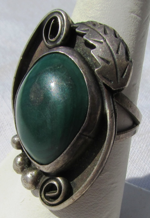 STERLING SILVER TURQUOISE OLD PAWN MARKED RING