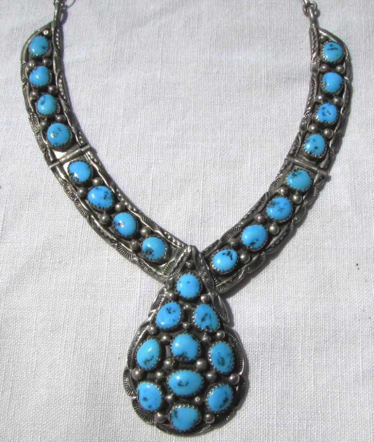 JAMES TOM STERLING SILVER TURQUOISE NECKLACE