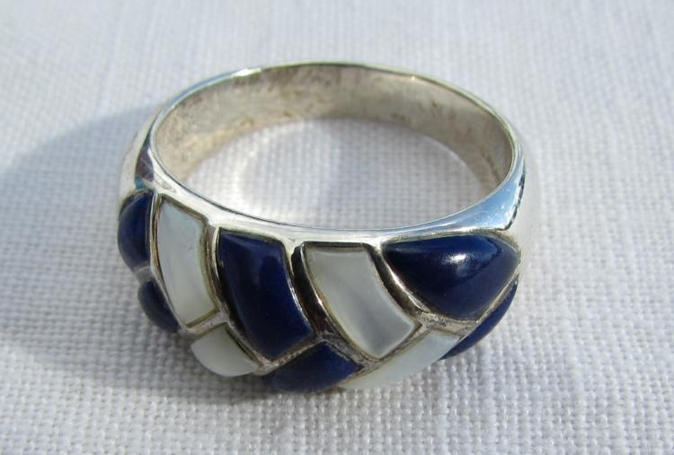 LAPIS MOTHER OF PEARL STERLING SILVER RING S&G