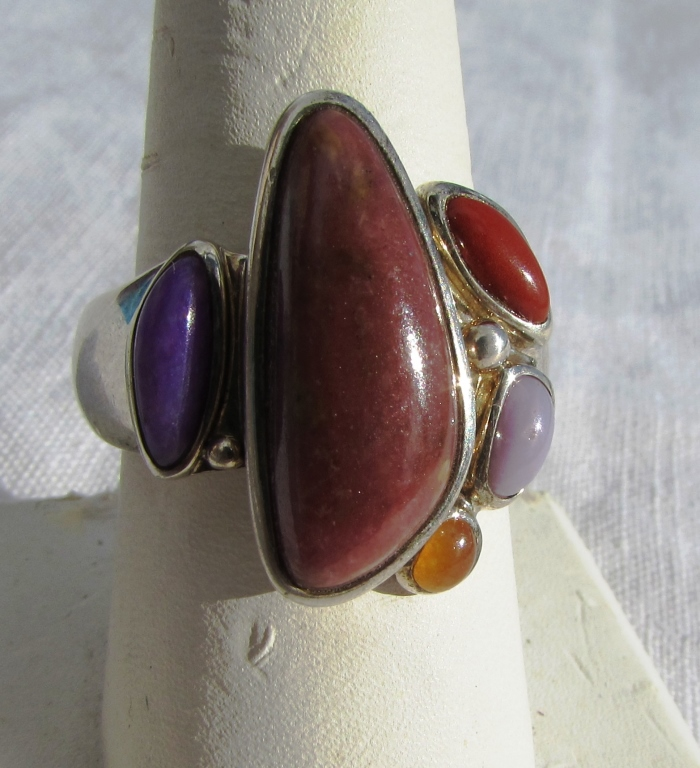 GEMSTONE STERLING SILVER RING MULTICOLOR