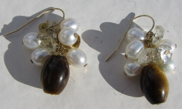 14k GOLD PEARL CITRINE TIGER EYE EARRINGS 6.3 GRAM