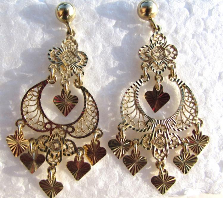 14k GOLD EARRINGS HEART DIAMOND CUT FILIGREE