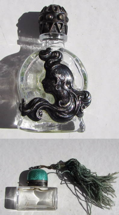 2 GULLOCHE ENAMEL STERLING SILVER PERFUME BOTTLES