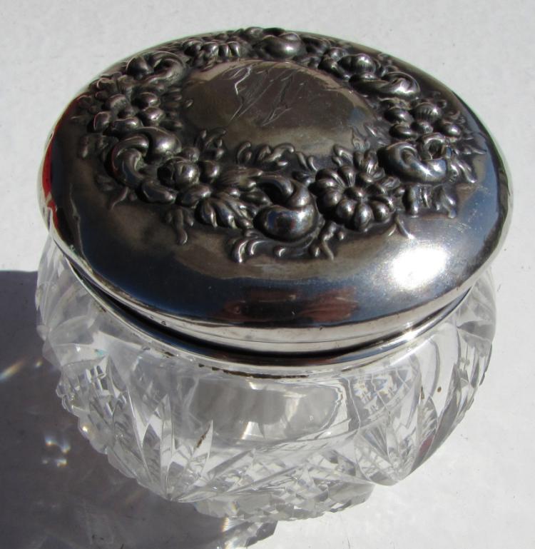 STERLING SILVER CRYSTAL JAR VANITY HIGH RELIEF