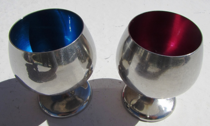 2 GORHAM STERLING SILVER ENAMEL CORDIAL CUPS