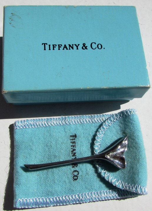 TIFFANY & CO STERLING SILVER GINKGO PIN BROOCH