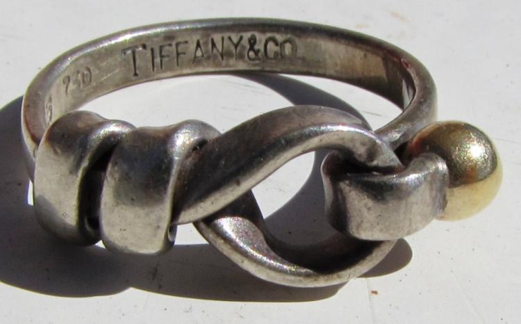 TIFFANY & CO. RING STERLING SILVER 18k GOLD HOOK & EYE