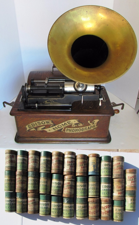 EDISON HOME PHONOGRAPH w/ HORN & 28 CYLINDERS