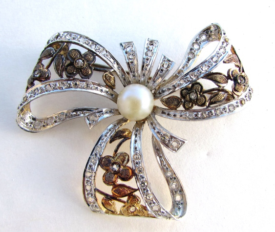 GOLD ON STERLING SILVER PEARL PIN BROOCH FLORAL