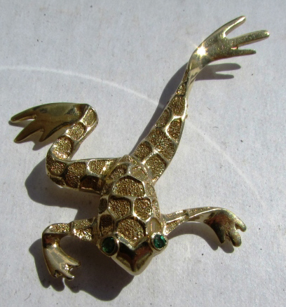 14K GOLD EMERALD BROOCH FROG PIN 5.4 g