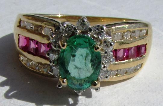 14K GOLD EMERALD DIAMOND RUBY RING 3.2 g