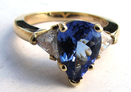 14K GOLD DIAMOND 2.5CT TANZANITE RING 4.8 g SIZE 6