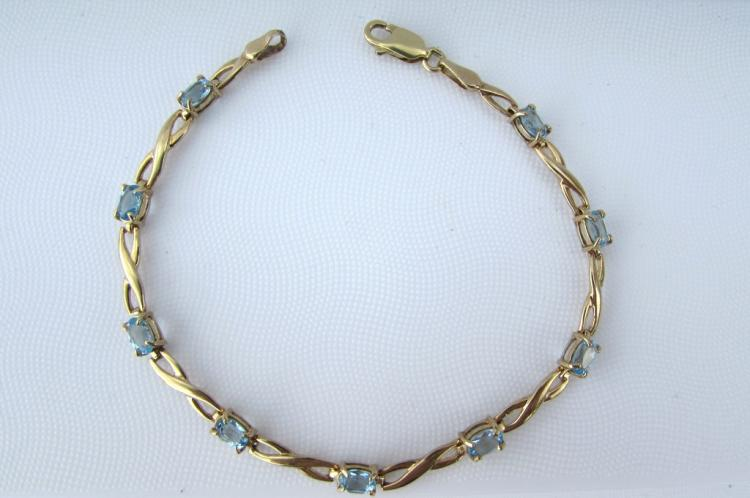 10K GOLD BLUE TOPAZ BRACELET LINK CHAIN