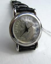US SILVER COIN WATCH 1949 QUARTZ RUNNING LEATHER