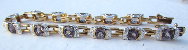 18K GOLD ON SILVER DIAMOND BRACELET ALEXANDRITE