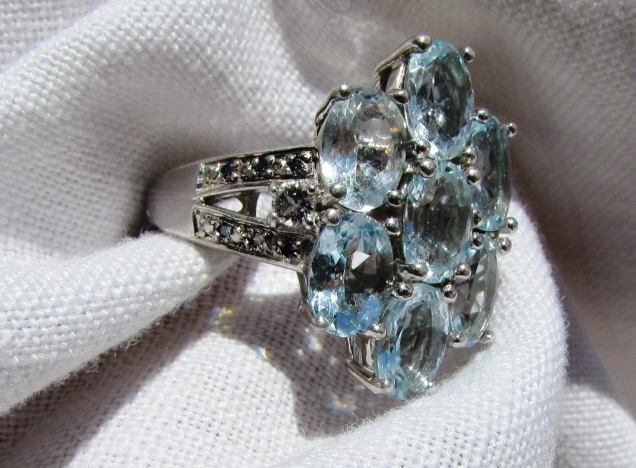 STERLING SILVER RING AQUAMARINE & SAPPHIRE STONES
