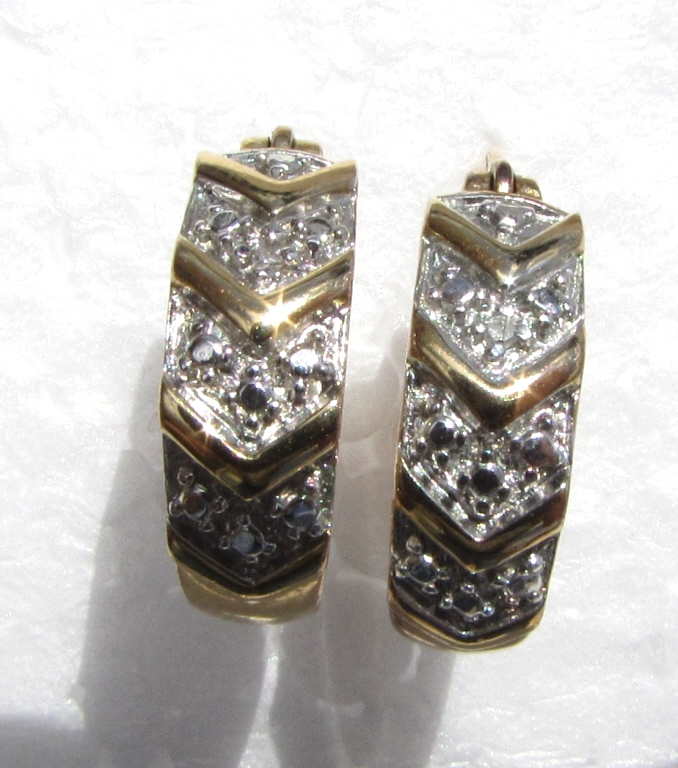 GOLD ON STERLING SILVER DIAMOND EARRINGS