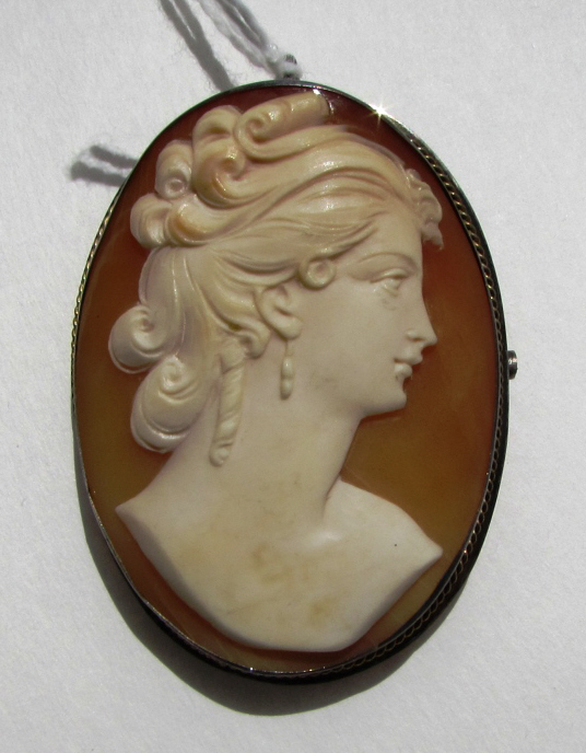 CAMEO CARVED SHELL PIN & PENDANT STERLING SILVER
