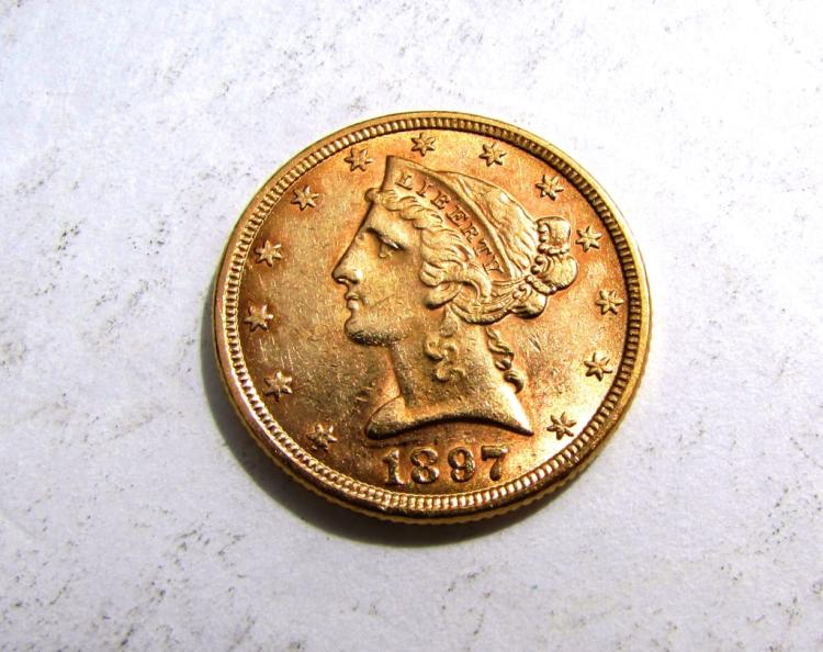 1897 $5 GOLD LIBERTY HEAD COIN US EF HALF EAGLE