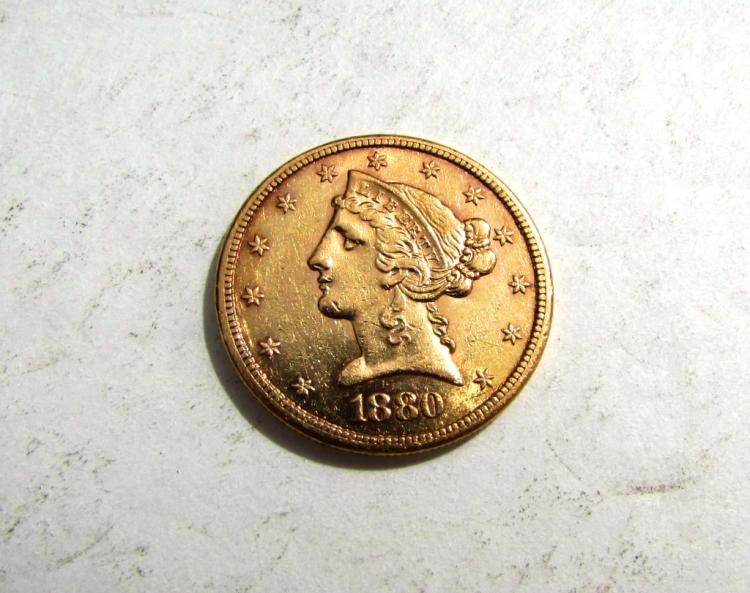 1880 S $5 GOLD LIBERTY HEAD COIN US EF HALF EAGLE