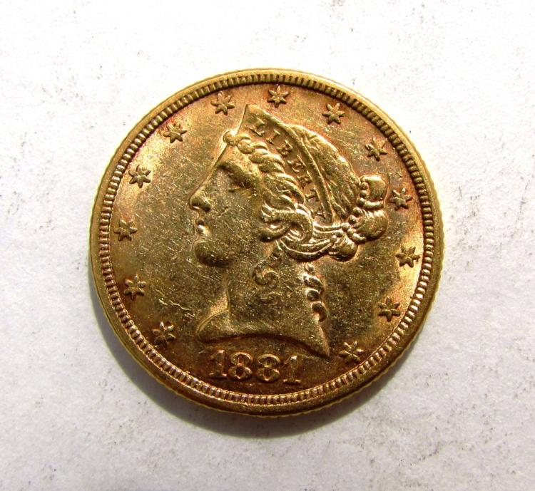 1881 $5 GOLD LIBERTY HEAD COIN US HALF EAGLE
