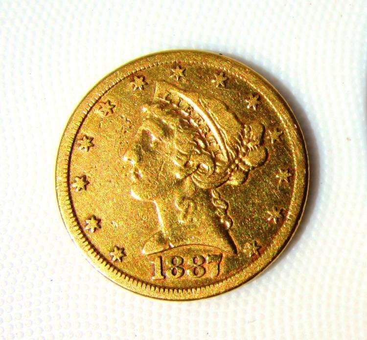 1887 S $5 GOLD COIN LIBERTY HEAD HALF EAGLE UNC XF