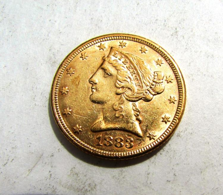 1883 $5 GOLD LIBERTY HEAD COIN US EF HALF EAGLE