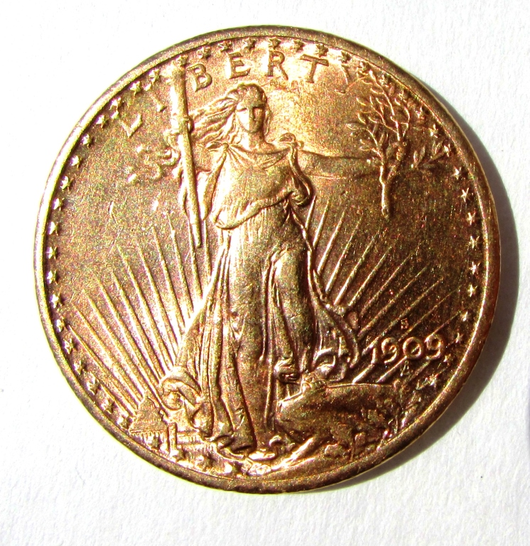 1909 S ST GAUDENS $20 GOLD COIN UNC