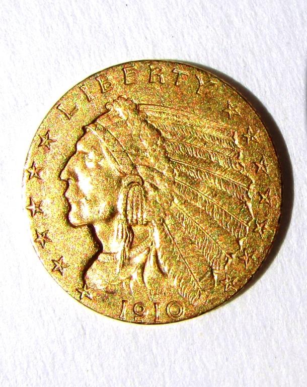 1910 $2.5 GOLD INDIAN COIN QUARTER EAGLE EF-AU