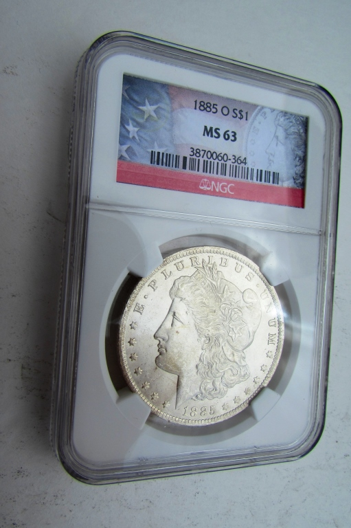 1885 O MORGAN SILVER DOLLAR NGC MS-63 CERTIFIED