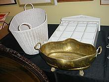 3 Piece Lot Wood Shelf Wicker Basket Brass Pot