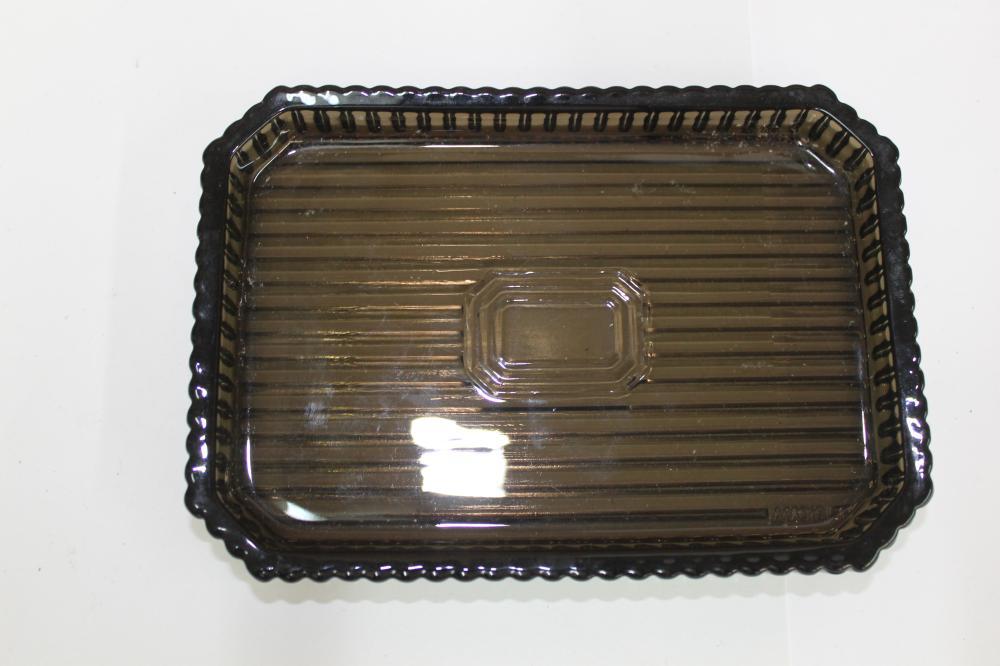 Ribbed Dark Glass Dresser Dish