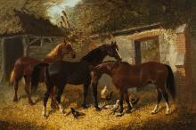 BARNYARD SCENES (two works) by John Frederick Herring Jr. (British, 1820–1907)