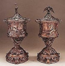 Mene, Pierre-Jules - Hunting Urns (pair), Bronze, 17 1/2 X 8 1/4 X 6 1/2