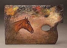 Stull, Henry - Hamburg Bell, Oil on artist's palette, 8 3/4 x 13