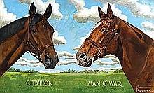 Brewer, Allen - Citation and Man o'War, Oil on board, 38 x 62