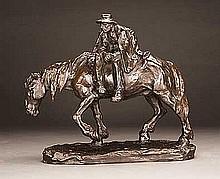 Muller, Hans - Paysan alsacien a cheval, Bronze, 11 x 4 1.2 x 13
