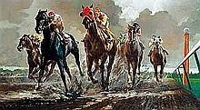 Menasco, Milton - Stretch Run, Oil on canvas, 28 x 50