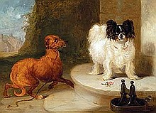 Hancock, Charles - A Papillon and a Mongrel, Oil on board, 8 x 11 1/4
