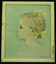 Pastel of a Young Girl with Yellow Bows by Elsa Schmid
