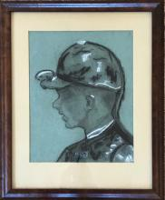 Charcoal of a Jockey attrbitued to Lee Townsend