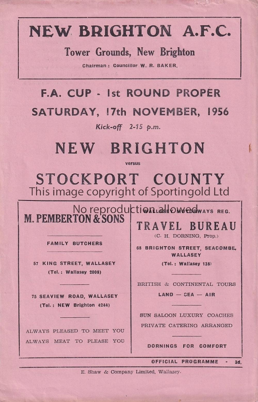 NEW BRIGHTON - STOCKPORT 56 - New Brighton home programme v