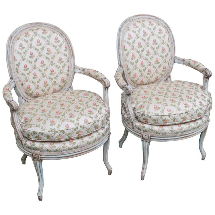 Pair of Painted Fauteuils (Chairs)