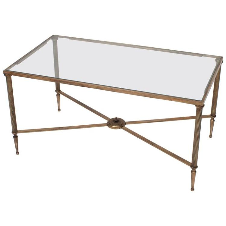 Neoclassic Style Brass and Glass Coffee Table