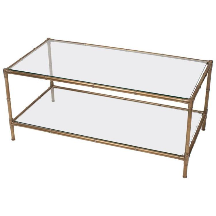 Faux Bamboo Brass & Glass Coffee Table