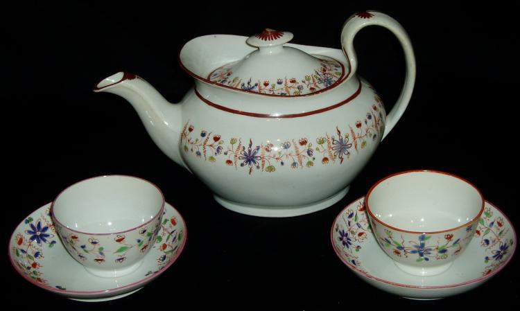 New Hall Teapot and Cups & Saucers
