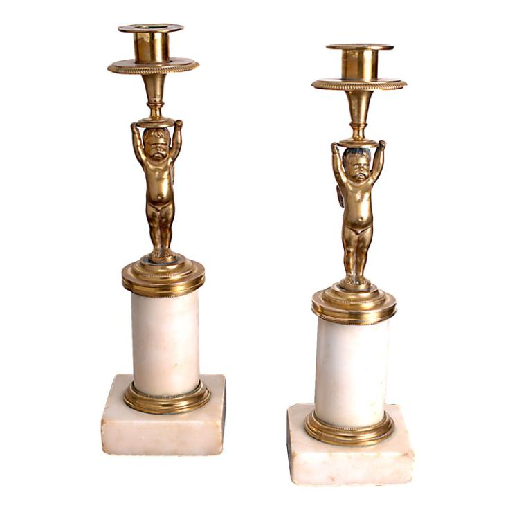 Pair of Putti Candlesticks