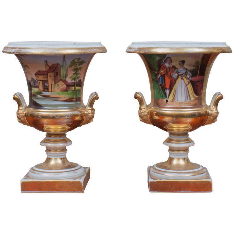 Pair of Old Paris Campagna Form Urns